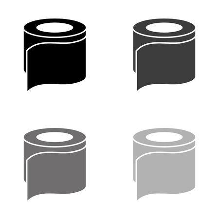 toilet paper - black vector icon