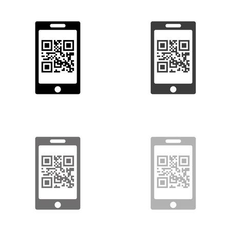 qr code - black vector icon