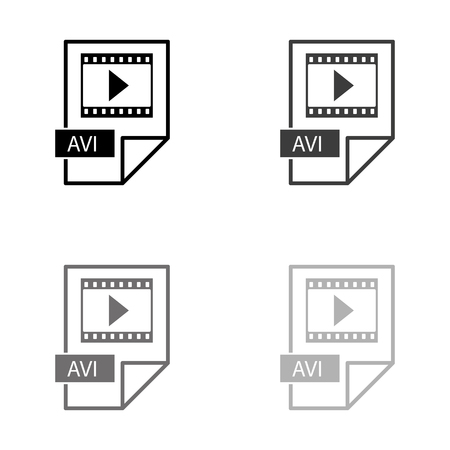avi icon - black vector icon Illustration