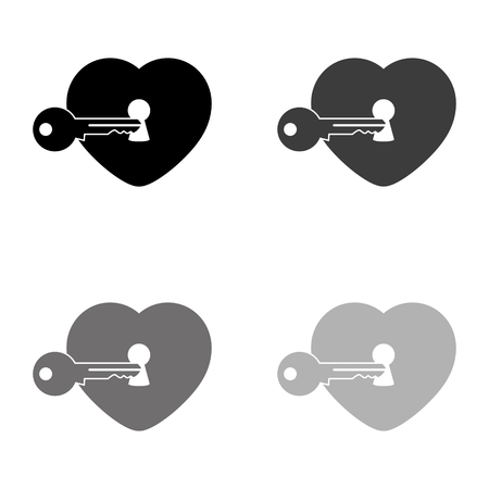 heart with key - black vector icon