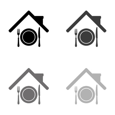 restaurant - black vector icon  イラスト・ベクター素材