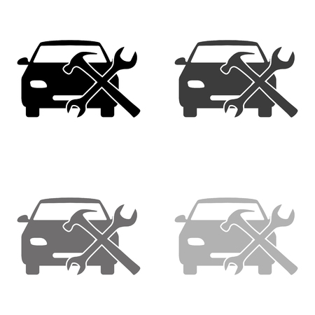 car service - black vector icon