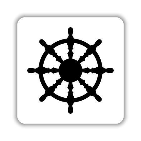 ship steering wheel - black vector icon Vetores