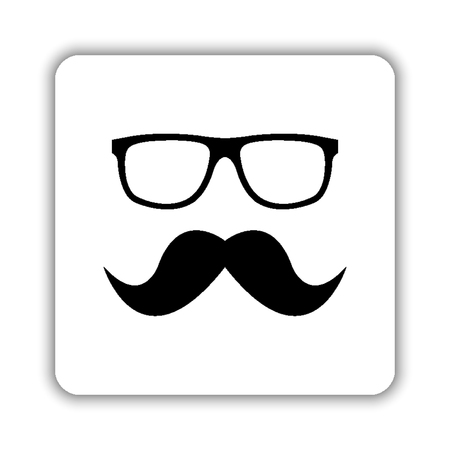Nerd glasses and mustaches - black vector icon 矢量图像
