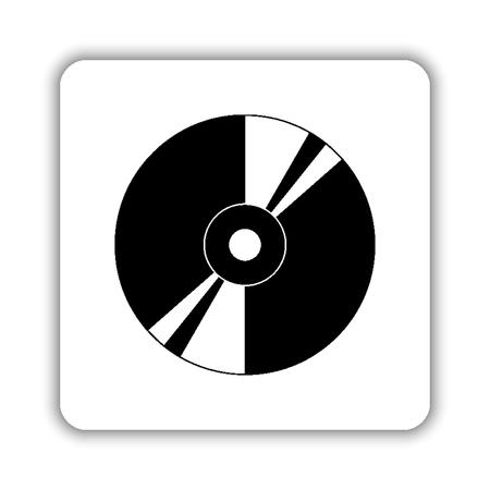 CD or DVD - black vector icon