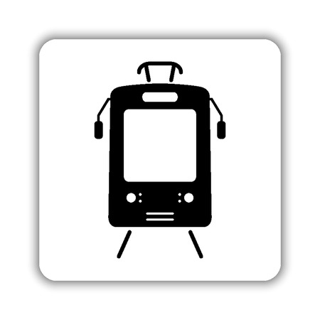 Tram - black vector icon