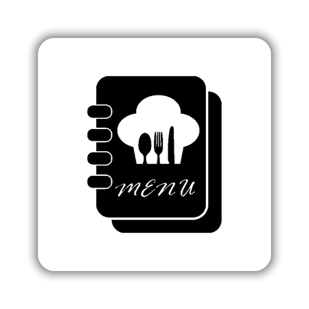 Menu book - black vector icon Ilustrace
