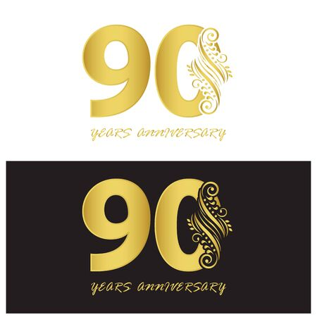 90 years anniversary vector, style for celebration, logo template