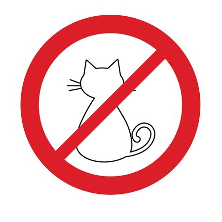 No cat icon prohibited sign. No animal icon. No pets sign.