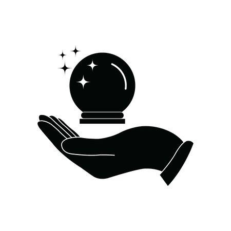 magic ball icon hand holding the  magic ballvector black sign