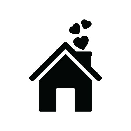 House with heart icon. Home love icon. Family happiness icon