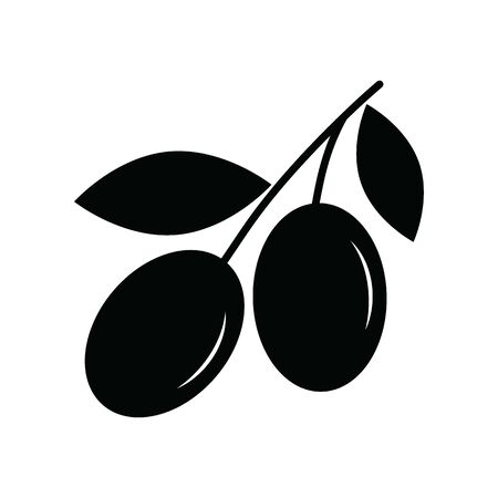 olive icon black vector sign Illustration