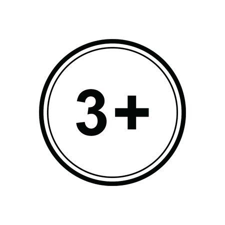 3 plus icon. black vector 3 + plus sign