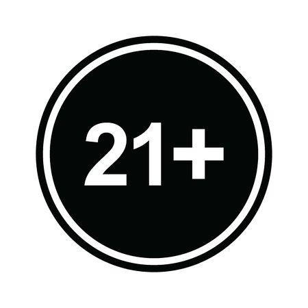 21 plus icon. black vector 21 + plus sign