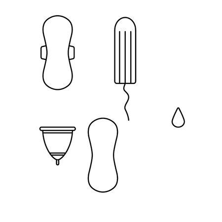 sanitary pad icon , tampon icon, menstrual cup icon vector set woman menstrual care icons Vectores