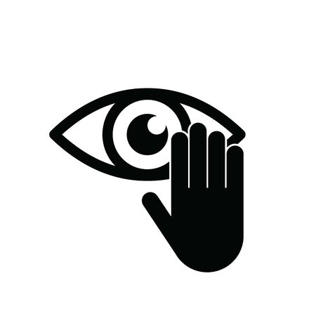 hand touch eye vector icon