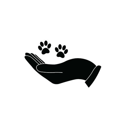 Hand holding paw icon. Animal care and protect