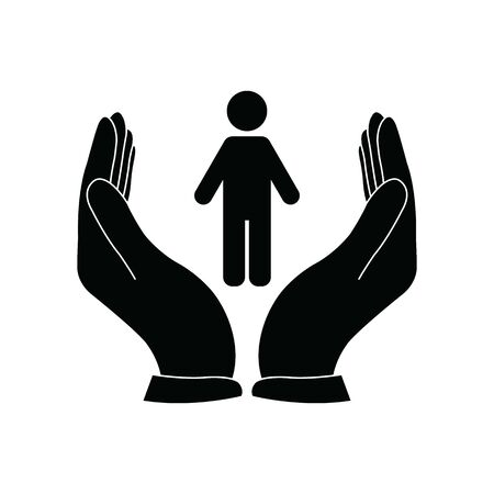 people care icon. the hand  is holding a persone vector icon Illustration