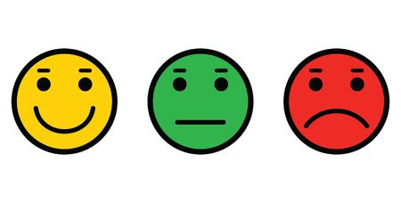 Set of emoji face icons. Vector Set of colour Emoticons. Sad and happy mood Icons.