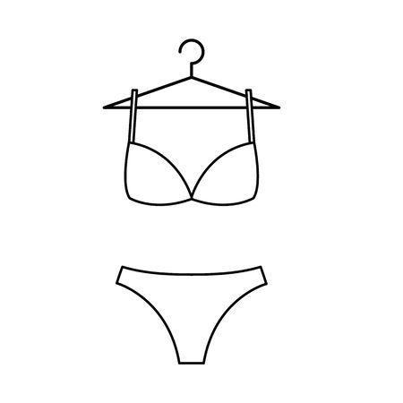 underwear icon on the hanger. clothes icon. Bra,  underthings icon. Stock Illustratie