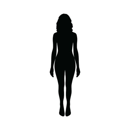 naked girl silhouette. Woman silhouette isolated on white background.