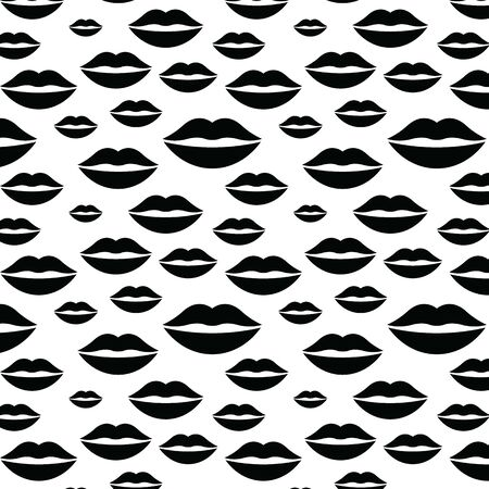woman lips background black vector seamless texture Illustration