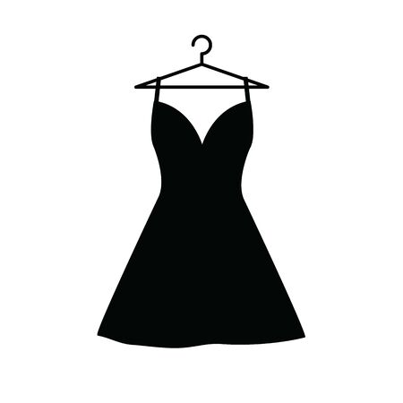 dress on the hanger vector icon. clothes, clothing icon