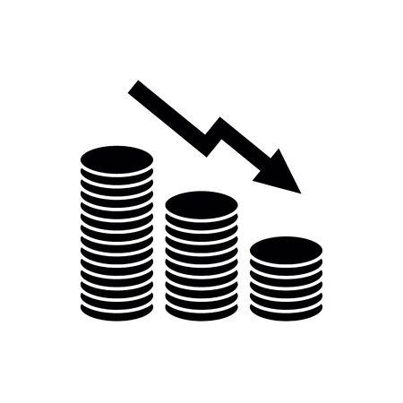 money icon. Growing, rising Coin icon Ilustración de vector