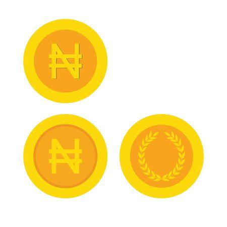 Nigerian Naira coisn icon. Nigerian Naira flat sign money. golden (yellow) icon coin set vector
