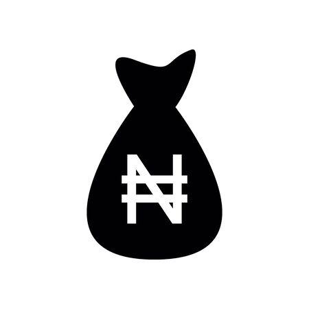 Money bag Nigerian Naira vector icon