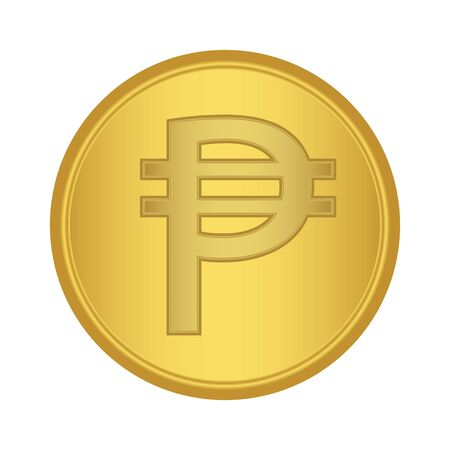 philippine currency gold icon. Pesos Sign golden vector