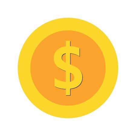 dollar  coin   icon. franc flat sign money.  golden (yellow) icon coin  set vector