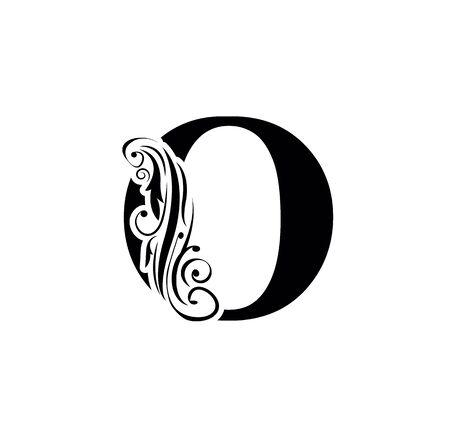 letter o. Vintage black flower ornament initial letters.  Alphabet. Logo vector Ilustração