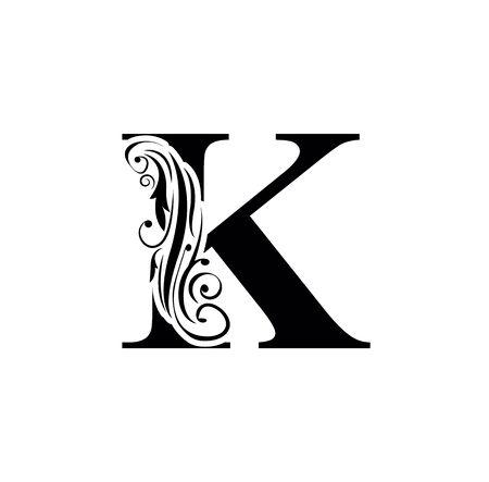letter K. Vintage black flower ornament initial letters.  Alphabet. Logo vector
