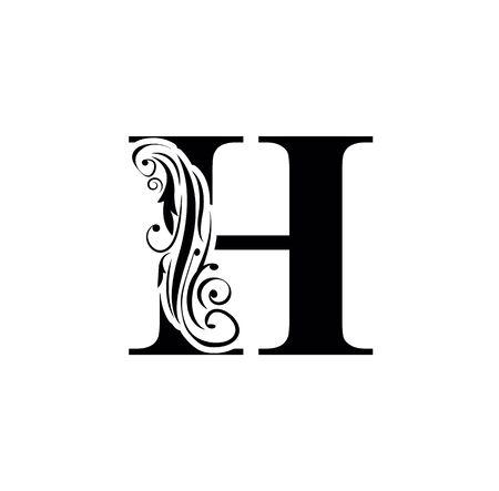 letter H. Vintage black flower ornament initial letters. Alphabet. Logo vector Logo