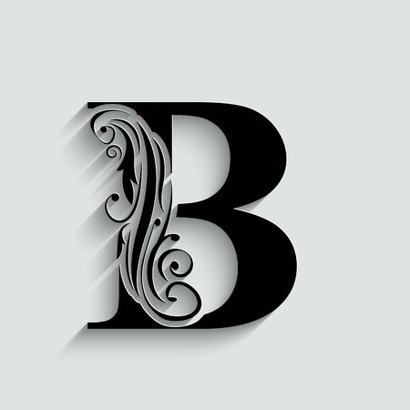 letter B. Black flower alphabet.  Beautiful capital letters with shadow 向量圖像