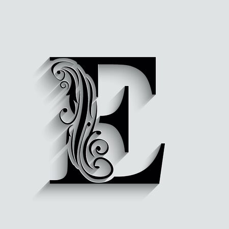 letter E.   Black flower alphabet.  Beautiful capital letters with shadow