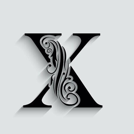 letter X.   Black flower alphabet.  Beautiful capital letters with shadow