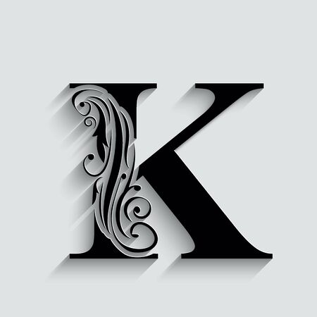 letter K.   Black flower alphabet.  Beautiful capital letters with shadow 向量圖像