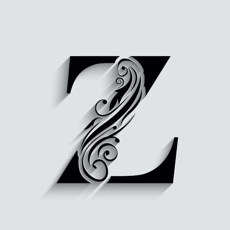 letter Z.   Black flower alphabet.  Beautiful capital letters with shadow