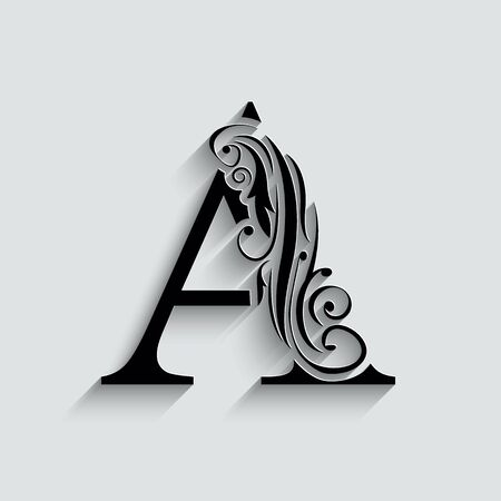 letter A.   Black flower alphabet.  Beautiful capital letters with shadow