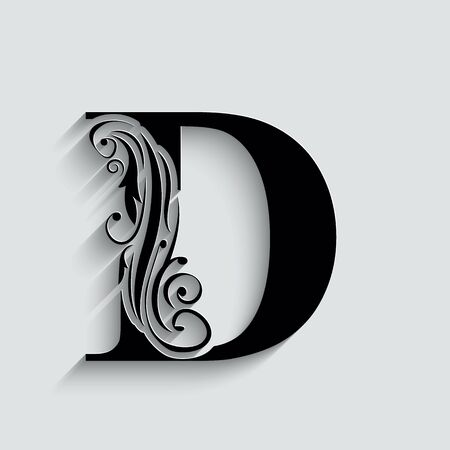 letter D.   Black flower alphabet.  Beautiful capital letters with shadow