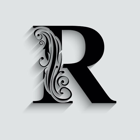 letter R.   Black flower alphabet.  Beautiful capital letters with shadow 向量圖像
