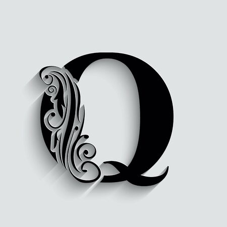 letter Q.   Black flower alphabet.  Beautiful capital letters with shadow