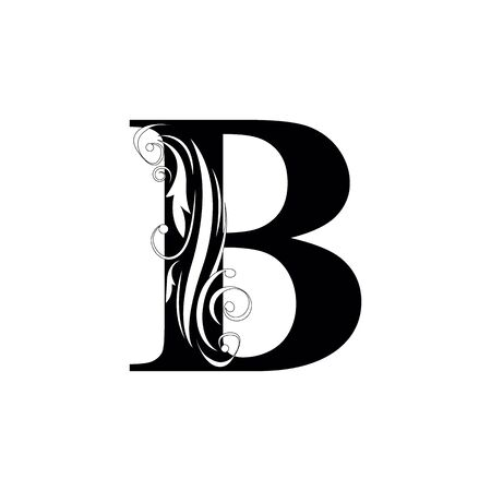 letter B Black letters.  flower   beautiful capital alphabet