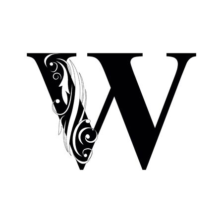 letter W Black letters.  flower   beautiful capital alphabet