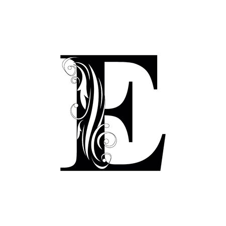 letter E Black letters.  flower   beautiful capital alphabet
