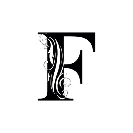 letter F Black letters.  flower   beautiful capital alphabet