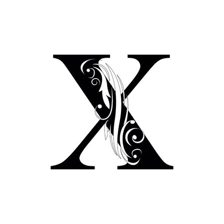 letter X  Black letters.  flower   beautiful capital alphabet