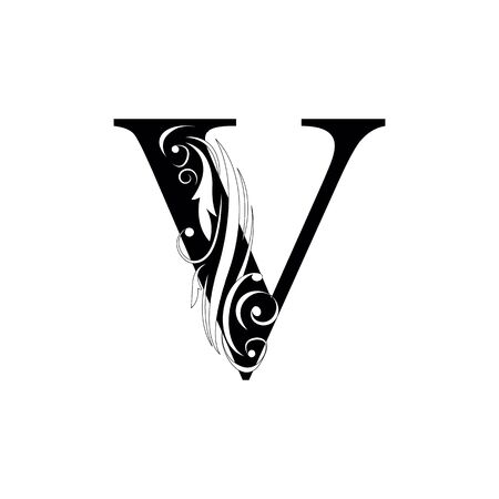 letter V Black letters.  flower   beautiful capital alphabet 向量圖像